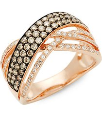 14k rose gold, rhodium-plated & two-tone diamond ring