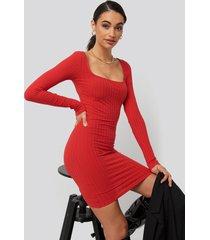 na-kd square neck ribbed dress - red