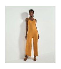 macacão pantalona liso com argola na alça comfy | marfinno | amarelo | m