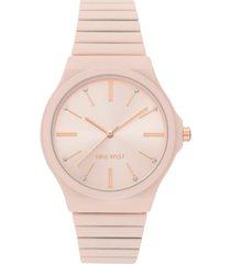 nine west women's light pink rubberized bracelet watch, 37.5mm