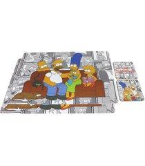 conjunto de 2 jogos americanos com 2 porta copos família simpsons
