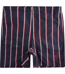 fred perry striped swim shorts | navy | s1522-608