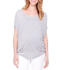 women's ingrid & isabel draped maternity tee, size medium - grey
