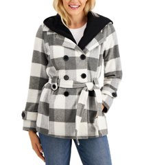 jou jou juniors' double-breasted belted hoodie coat, created for macy's