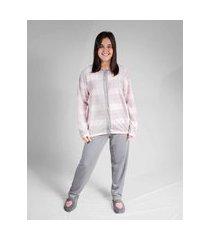 pijama manga longa peluciado zoah danubia estampado xadrez com cinza
