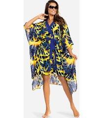 satynowy szlafrok damski - kimono w liście
