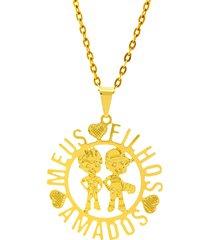 gargantilha horus import meus filhos amados banhada ouro amarelo 18 k 1060179 - dourado - feminino - dafiti