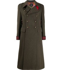 etro double-breasted flared coat - green