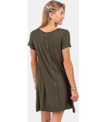 sofia button back knit dress - olive