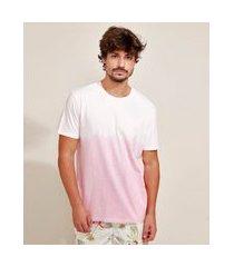 camiseta masculina estampada tie dye manga curta gola careca rosa