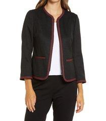 women's anne klein braided trim collarless jacket, size 16 - black