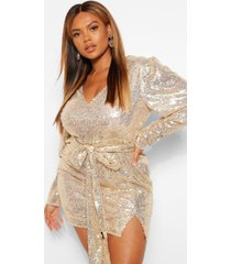 plus sequin puff sleeve tie belted mini dress, gold