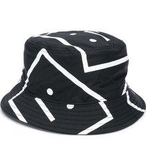acne studios face-motif bucket hat - black