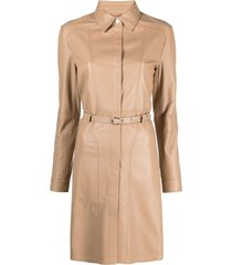 arma leather belted dress - neutrals