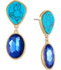 rachel rachel roy gold-tone imitation turquoise & blue crystal drop earrings