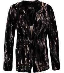 amélie & amélie zwarte velours blazer met pailletten