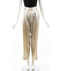 brunello cucinelli beige metallic silk high waist ankle pants beige/metallic sz: s