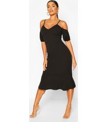 cold shoulder puff sleeve peplum hem midi dress, black