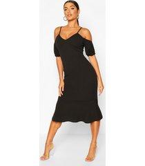 peplum midi-jurk met pofmouwen en blote schouder, zwart