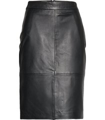 slfmaily hw leather skirt w knälång kjol svart selected femme