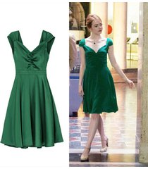 v-neck sexy dress the same kind green dresses as emma stone in movie la la land