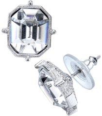 2028 silver-tone emerald cut stud earrings