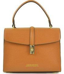 ermanno scervino brown top handle satchel bag