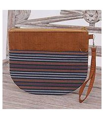 cotton clutch wristlet, 'lurik sphere brown' (indonesia)