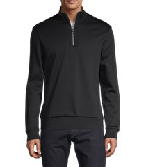 boss hugo boss men's sidney half-zip cotton sweatshirt - navy - size xxl