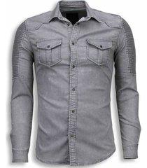 biker denim shirt - slim fit ribbel schoulder