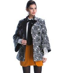 casaco belfast 3/4 branco/preto