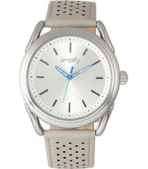 simplify quartz the 5900 silver case, genuine grey leather watch 43mm