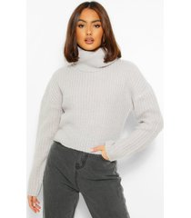 cropped roll neck sweater, silver grey