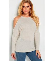 beige cut out details cold shoulder desgin long sleeves t-shirt