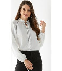 yoins white stand collar long sleeves blouse
