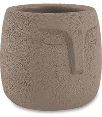 cachepot redondo em cimento 9x9,5cm cinza