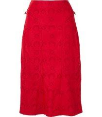 marine serre moon jacquard mini skirt - red