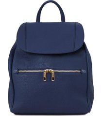 tuscany leather tl141697 tl bag - zaino donna in pelle morbida blu scuro