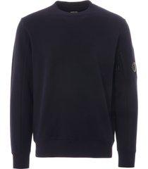 cp company diagonal fleece lens sweatshirt - total eclipse - mss014a-516 888