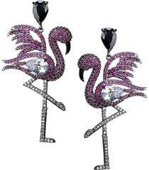 cz by kenneth jay lane women's flamingo black rhodium-plated & crystal earrings