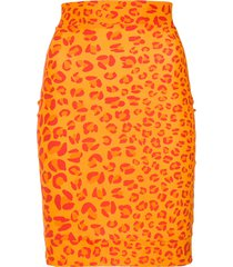 amir slama leopard print skirt - orange