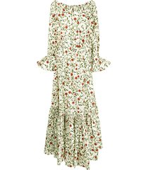 agua by agua bendita all-over floral print dress - yellow