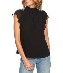 1.state flutter sleeve smocked neck blouse, size x-large in rich black at nordstrom