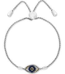 effy sapphire (1/10 ct. t.w.) & diamond (1/10 ct. t.w.) evil eye bolo bracelet in 14k gold & sterling silver