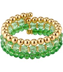 2028 gold-tone period green color beaded coil bracelet