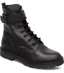 hailey lace up l shoes boots ankle boots ankle boots flat heel svart shoe the bear