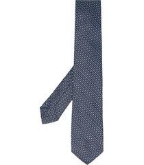 barba silk embroidered tie - blue
