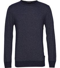 striped cashmere o-neck knit gebreide trui met ronde kraag blauw lindbergh