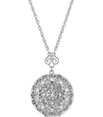 "2028 silver-tone round crystal locket 30"" necklace"