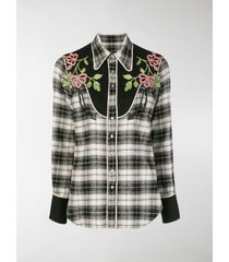 dsquared2 floral embroidered tartan shirt